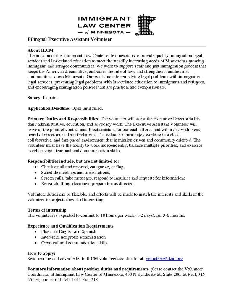 ... ILCM Bilingual Executive Assistant Volunteer Pdf 791x1024 ...